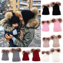 Mom Winter Warm Double Fur Pom Bobble Knit Beanie Hat Cap