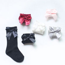 Baby Toddler Kid Girl Cute Knee High Long Socks Bow Cotton Casual Stockings 0-4Y