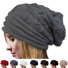 Unisex Women's Men's Knit Baggy Beanie Oversize Winter Hat Ski Slouchy Cap Skull