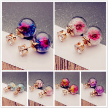 1Pair Charming Women Lady Elegant Flower Rhinestone Glass Ear Stud Earrings