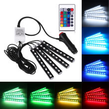 DC 12V 4PCS 9LED Remote Control Colorful RGB Car Interior Floor Decorative Light