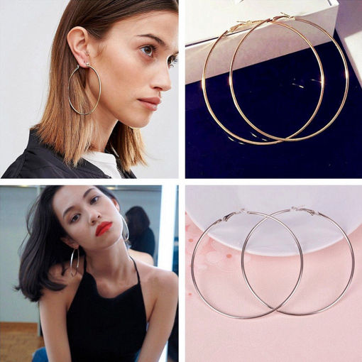 Fashion Women Gold Silver Metal Big Circle Smooth Large Ring Hoop Earrings Chic 10cm