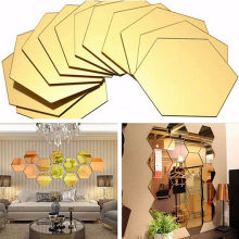 120PCS 3D Mirror Hexagon Vinyl Removable Wall Sticker Decals Home Decor Art DIY
