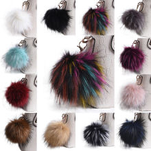 Fluffy 13cmLarge Faux Fox Fur PomPom Ball Car Handbag Pendants Keychain Key Ring