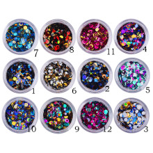 12 pcs Nail Glitter Sequins Mix Round 3D Nail Art Decoration UV Gel Tips Manicure DIY
