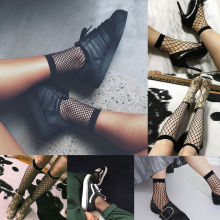 Womens SMALL Fishnet Ankle High/ Knee High Socks Lady Mesh Lace Socks Black