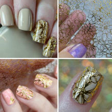 1 Sheet Embossed 3D Nail Stickers Gold Blooming Flower Nail Decals Decoration