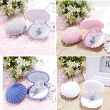 Shell Shape Lovely Earrings Ring Velvet Gift Display Box Jewelry Necklace Case