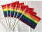 RAINBOW HAND WAVING FLAG Small 6  x 4  with black pole GAY PRIDE