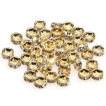 1000Pcs Czech Crystal Rhinestones Gold Rondelle Spacer Beads 6mm