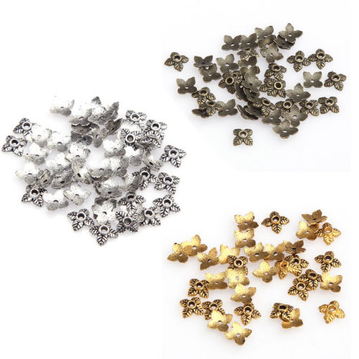 100pcs Retro Silver/Golden/Bronze Tone Leaf Bead Caps 6mm U Choose Color