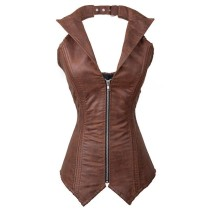 Fashion Brown metal skeletons high quality sexy leather corset