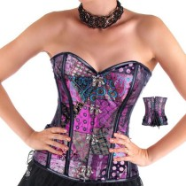 Fashion Purple printing high quality sexy leather corset