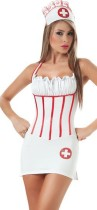White Sexy temptation Suspenders backless Nurse Costumes