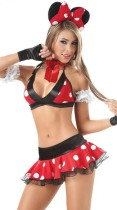 Small white dot red bikini fun Mickey cartoon Costume