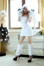 White Furry Animal Polar Bear Sexy Corset Costume