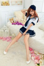 White and Blue Color Chiffon cute sailor School Girl Costumes