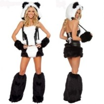White and Black Panda Bear Corset Costum
