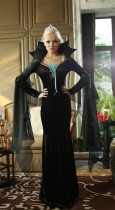 New luxurious black Halloween vampire queen fitted costume