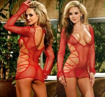 New black red long-sleeved leotard tight reticular lingerie