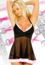 Cheap Black Colorful Babydoll Top