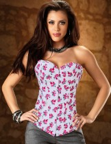 White Floral Strapless Denim Corset