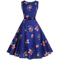 Beautiful elegant blue Waist Thin Printed Plus size Dres
