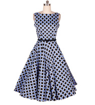 Blue Black Polka Dot round boat neck collar flared skirt