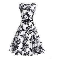 Fashion black style Waist Thin Printed Plus size Dress