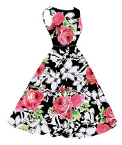 Fashion Charming flowers pattern plus size dress