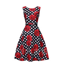 Cute dots Bright rose pattern plus size dress