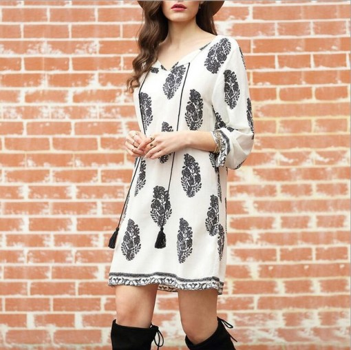 New white and black print plus size dress