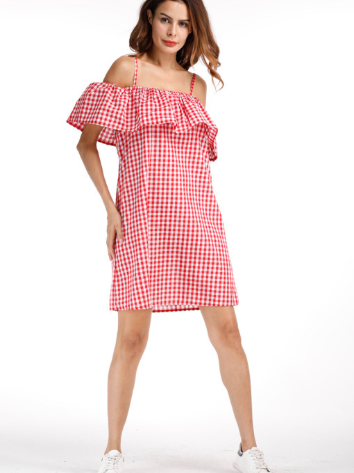 Cheap red beautiful cute plaid sling plus size dress