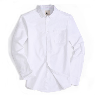 Alex Vando Mens Button Down Regular fit Long-sleeve Oxford Casual Shirt White