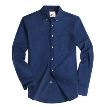 Alex Vando Mens Button Down Regular fit Long-sleeve Oxford Casual Shirt Navy