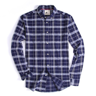 Mens Button Down Cotton Plaid Washed Regular fit Long Sleeve Shirt Navy