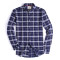 Alex Vando Mens Button Down Standard-fit Long-sleeve Washed Plaid Shirt Navy