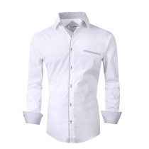 Alex Vando Mens Dress Shirts Cotton Poplin Spandex Long Sleeve Regular Fit Casual Spread Collar Shirt White