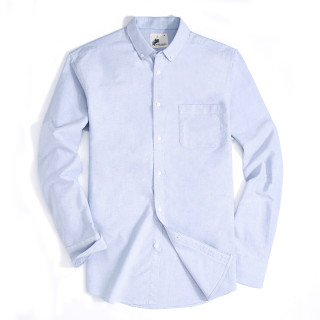 Alex Vando Mens Button Down Regular fit Long-sleeve Oxford Casual Shirt Blue