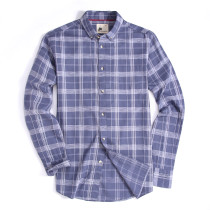 Mens Button Down Cotton Plaid Washed Regular fit Long Sleeve Shirt Gray
