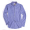 Alex Vando Mens Button Down Standard-fit Long-sleeve Washed Plaid Shirt Blue/White