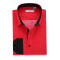 Mens Dress Shirts Polka Dots Printed Regular Fit Long Sleeve Shirt Red