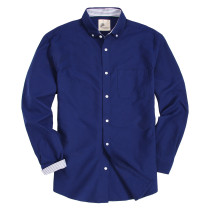 Mens Button Down Regular fit Washed Oxford Dress Shirt Navy