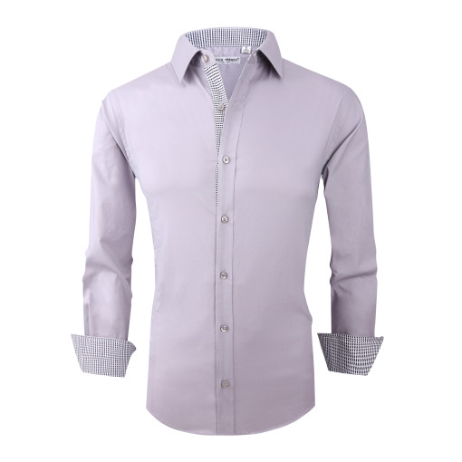 Mens Dress Shirts Cotton Spandex Casual Regular Fit Long Sleeve Shirt Grey