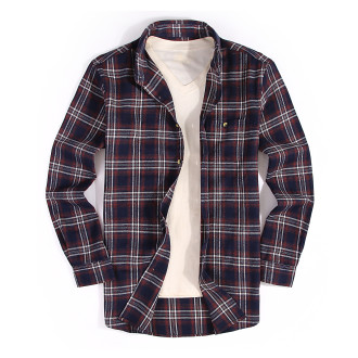Mens Casual Button Down Regular Fit Long Sleeve Flannel Shirts Navy 208-257