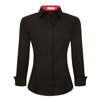 Womens Button Down Shirts Long Sleeve Cotton Stretch Work Shirt Black