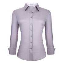 Womens Button Down Shirts Long Sleeve Cotton Stretch Work Shirt Grey