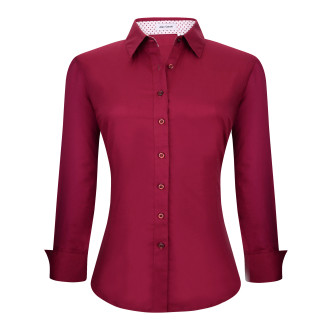 Womens Button Down Shirts Long Sleeve Cotton Stretch Work Shirt Burgundy