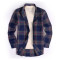 Mens Casual Button Down Regular Fit Long Sleeve Flannel Shirts Royal Blue 14-653