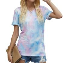Womens Tie Dye Printed V-Neck Short Sleeve Casual Tops,Galaxy
